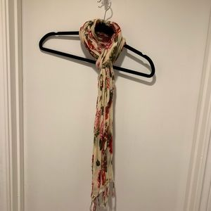 F&F Cream and Floral Printed Fringe Scarf